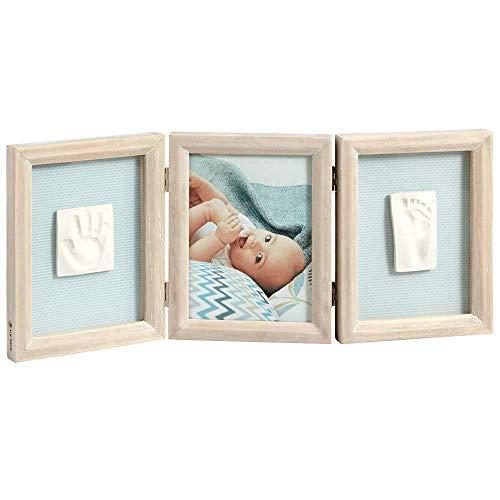 Baby Art - Bilderrahmen dreiteilig mit Gipsabdruck und Foto für Baby Fußabdruck oder Handabdruck, My Baby Touch, eckig, stormy