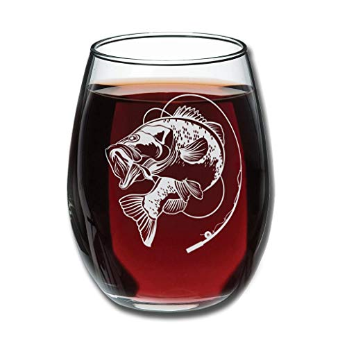 CATNEZA Libbey Rode Wijnglas - Vissen Gegraveerde Wijn Tumbler Nieuwigheid voor Afstudeerden Verjaardagen 12 oz