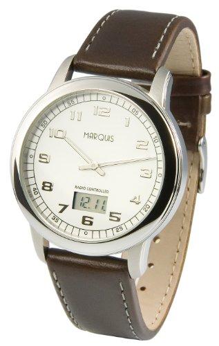 Elegante MARQUIS Herren Funkuhr (Junghans-Uhrwerk) Edelstahlgehäuse, Armband aus echtem Leder 964.4902