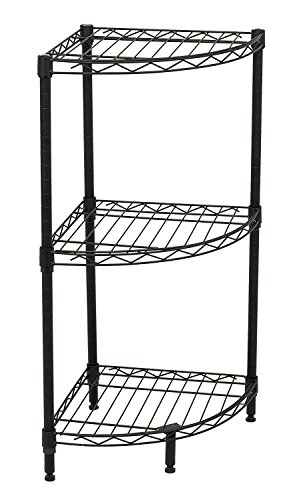 Internet's Best 3-Tier Corner Wire Shelving - Black - Heavy Duty Shelf - Adjustable Rack Unit