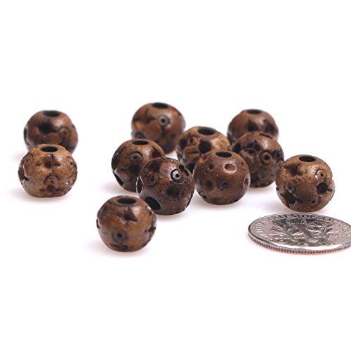 Perlen für Schmuckherstellung, 9 x 10 mm, großes Loch, Braun, 20 Stück