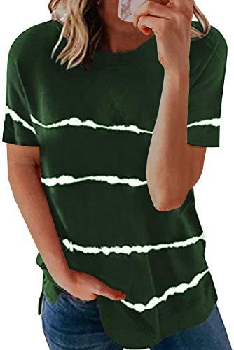 SMENG Shirt Damen Kurzarm Locker Sexy Oberteil Bekleidung Color Block Tunika Bequemes Hemdbluse Elegant Coole T-Shirts Casual Tops Schwarz S