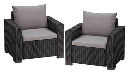 Allibert Lounge Sessel California 2er Set mit Kissen, graphit/cool grey