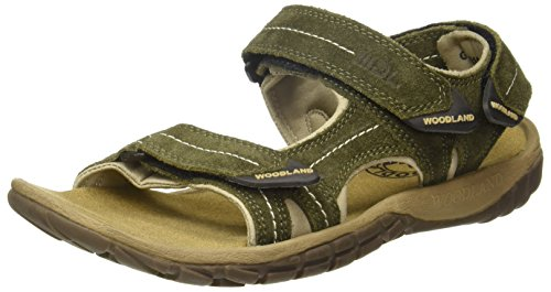 Woodland Men's Olive Green Leather Sandal-7 UK (41 EU) (GD 2185116CMA)