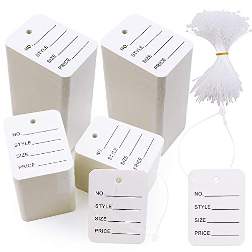 WYKOO 1000 Pieces Price Tags, Making Tag White Store Tags Clothing Tags Clothes Size Tags Coupon Tags with 1000 Pcs Plastic Tag Fastener, 1.9 x 1.4 Inch