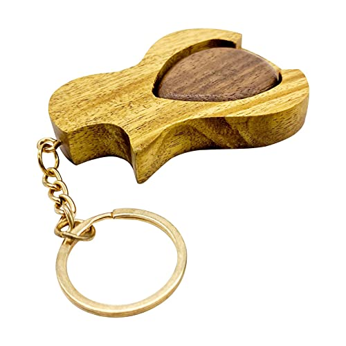 Bagalqio Gitarren Plektrum, 2-in-1 Kreativer Schlüsselanhänger Holz-Plektren-Zubehör Für E-Gitarre, Akustikgitarre, Bassgitarre liberal
