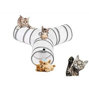 aokuy Túneles para Gatos,Túnel de Gato3 Vías Plegable Juguete del Gato/Divertido Juego Juguete Tubo/Túnel de Juguete con Pelota para Mascota Gatos Conejos Cachorro Uso Interior y Exterior 13