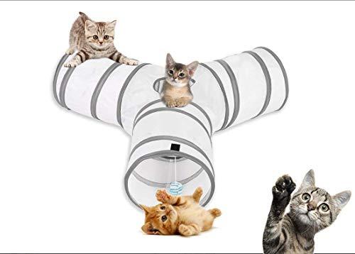 Cat Play Tunnel ,Tunnel Per Gatti a 3 Uscite, Pieghevole Animali Domestici Cane Gatto Giocattolo Attività Di gioco Da graffiare per gatti, Gattini, Conigli, Cuccioli di cane