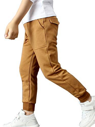 Kinder Jungen Jogginghose Outdoor Pants Freizeithosen Sweathosen Sporthose (Braun, 110-115)