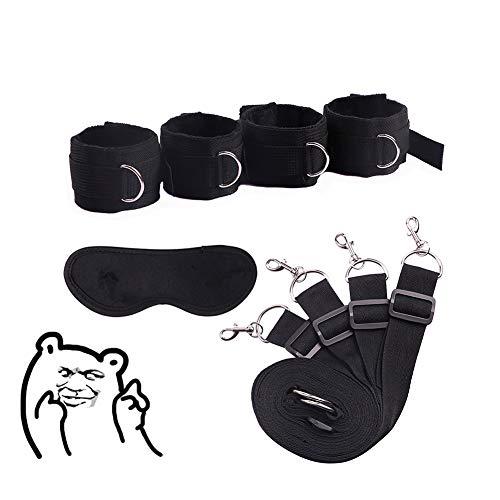 Paar flirten bed riem speelgoed bed seks bondage bondage pak (zwart)