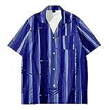 Camisa Hawaiana Hombre,Camisa Hawaiana con Botones Hawaianos De Manga Corta para Hombre, con Estampado De Rayas Geométricas Pintadas En 3D, Casual, De Secado Rápido, Manga Corta, Fiesta De Vacacio