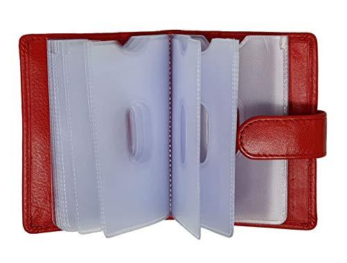 morbido raccoglitore genuino del titolare della carta di credito in pelle con maniche rimovibili di plastica (ROSSO) #210 Red