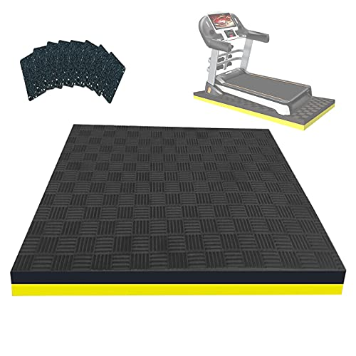Heavy Duty Exercise Equipment Mat 2.5 cm Thick Treadmill Mat Floor Protector Large Noise Reduction Exercise Bike Mat Rubber Anti-Vibration Pads Sound Absorbing Mat 160×80×2.5 cm-Black+Yellow