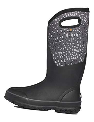 BOGS Women's Classic High Waterproof Insulated Rubber Neoprene Snow Rain Boot, Appaloosa Print - Black Multi, 10 M US