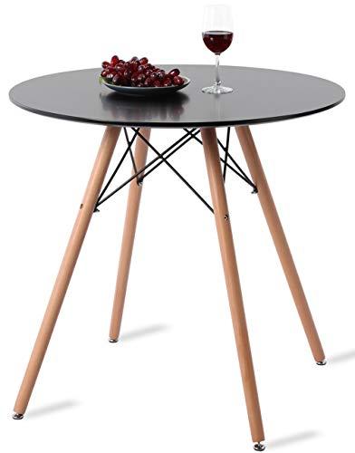 DORAFAIR Esstisch Rund Küchentisch mit Buchenbeinen und schwarzem Rahmen, Schwarzer Wohnzimmer Tisch 80 * 75cm