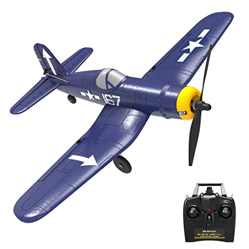 Rc Plane ,4 Channel Remote Control Airplane Ready to Fly Rc Planes for Adults, Remote Control War Plane F4U Corsair with Propeller Saver,6-axis gyro stabilizer (US 3-5 Day,Blue)
