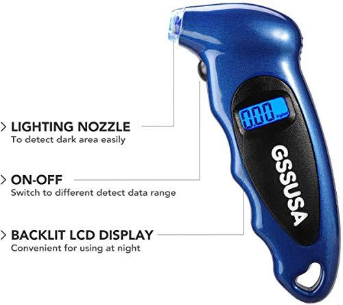 Switory Manómetro Digital Presion Neumáticos, 150 PSI 4 Ajustes para Car Truck con LCD Retroiluminado, Empuñadura Antideslizante e Iluminación Luminosa, Azul (1 Paquete)