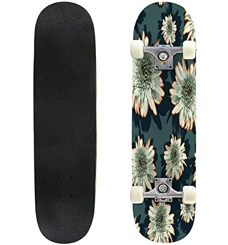 """Floral Outline patternretro Style on Dark backgroundbright Color Skateboard 31""""x8"""" Double-Warped Skateboards Outdoor Street Sports Skateboard for Beginners Professionals Cool Adult Teen Gifts"""