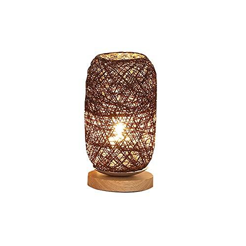 Huposdxjtd Lampara Mesa Lámpara de Mesa de Madera Sala de Estar Dormitorio Lámparas de Noche Arte Decoración Escritorio Lámpara Ratán Twine LED Lámpara Luces de Bola USB Carga