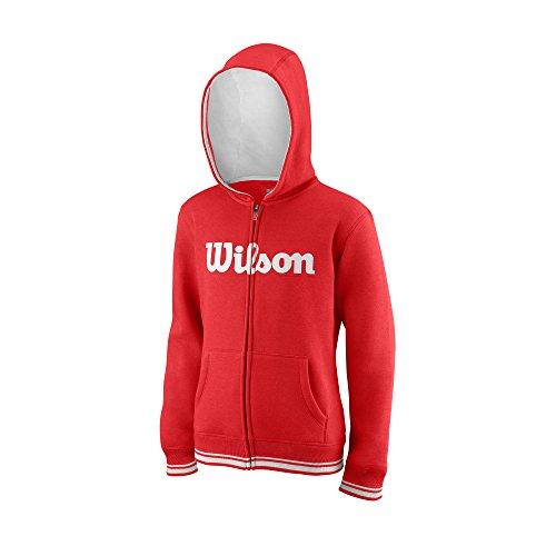 Wilson Jungen/Mädchen Sport-Kapuzenweste, Y Team Script FZ Hoody, Baumwolle/Polyester, Rot/Weiß, Größe: S, WRA767004