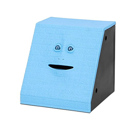 Youngine Novedad Face Bank Moneda Comer Banco de Ahorros Niños Ahorro de dinero Colección Piggy Bank (Ladrillo azul)