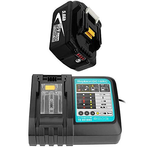 Ersatz Ladegerät mit BL1850 1 Akku 18V 5.0Ah Ersatz für Makita Akku BL1840 BL1840B BL1850 BL1860B LXT400 194204-5 Werkzeugakkus mit LED-Anzeigen 18 Volt Radio Batterie