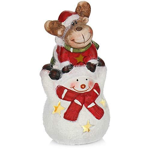 com-four Pupazzo di Neve con Renna in Ceramica - Figura Decorativa Natalizia da Stare in Piedi con Illuminazione a LED - Figura Decorativa per Natale (01 Pezzo - Renna e Pupazzo di Neve)