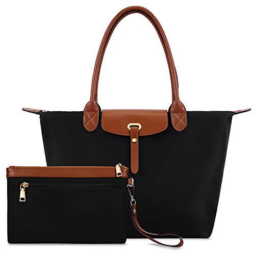 Women's Nylon Foldable Tote Handbag + Wallet (Waterproof)