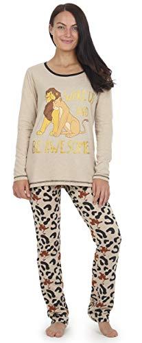 Disney Pijama Rey León para Mujer, Pijama Mujer, Pijama De 2 Piezas con Manga Larga Y Leggings con Estampado Animal, Ropa De Dormir De Algodón, Ropa De Salón Disponible En Talla 36 A 46
