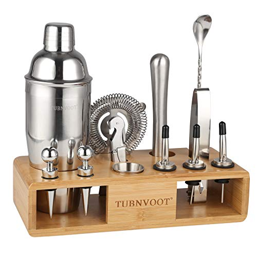 TUBNVOOT Bartender Kit Cocktail Shaker Set 13 Piece Stainless Steel Bar Tools for Home, Bartending Mixing Kit with Stand and Recipe Book