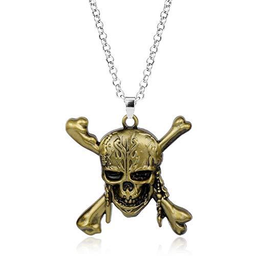 YUNGYE Pendant Jack del Collar del cráneo de la Manera Pendiente Cadena de Acoplamiento del Collar de Regalos Pendiente de Las Mujeres de los Hombres de joyería (Metal Color : Bronze)