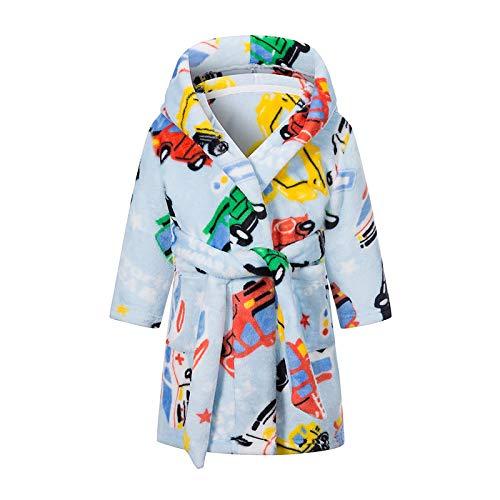 LEYUANA Baby Bademäntel Jungen Mädchen, Nachthemd Mit Taschen Kinder Cartton Bedruckte Pyjamas Kinder Flanell Handtuch Nachtwäsche 4T Auto