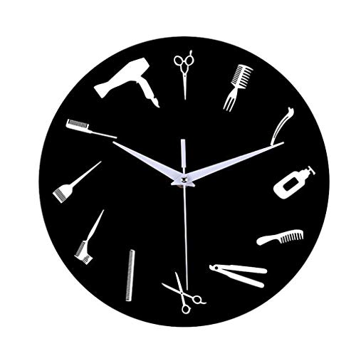 BFMBCHDJ DIY Barber Shop Giant Wall Clock with Mirror Effect Barber Toolkits Decorative Frameless Clock Watch Hairdresser Barber Wall Art No LED 12 Inches