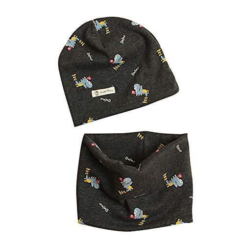 Conjunto de gorro y bufanda de algodón para niños, de Casue, para otoño e invierno, estampado con bonitos gorros, bufandas redondas Kleine Dinosa Talla:S