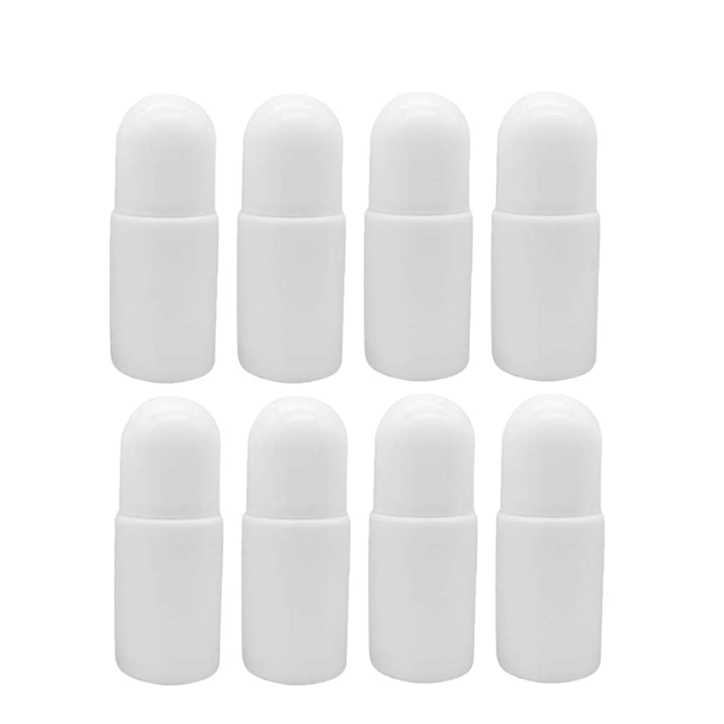 国旗克服する待つSUPVOX 10個プラスチック ローラーボトル空の詰め替え可能なロールでエッセンシャルオイル香水 化粧品ローション付き プラスチックローラーボール50ミリリットル(ホワイト)