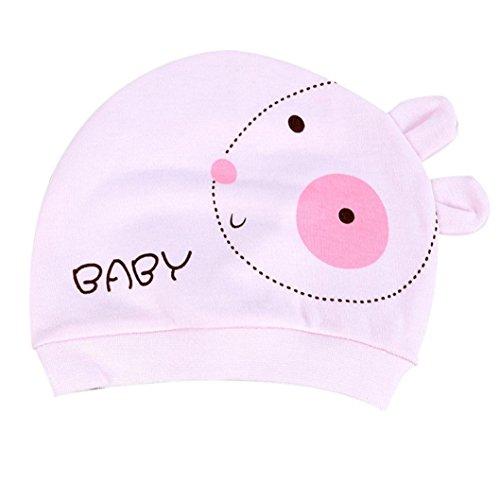 bébé Enfants Chapeau Longra l'automne Chapeau de bébé Chaud Coton Tout Petit Cap Beanie 0~3 Mois bébé (Rose)