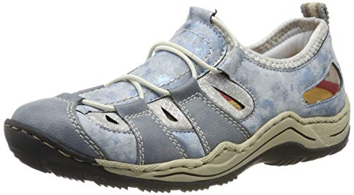 Rieker Damen L0561-12 Sneaker, Blau (Adria/Heaven/Silverflower 12), 37 EU