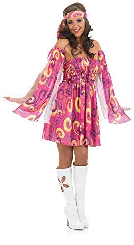 Fun Shack Rosa Hippie Kleid 70er Jahre Kostüm für Damen - S