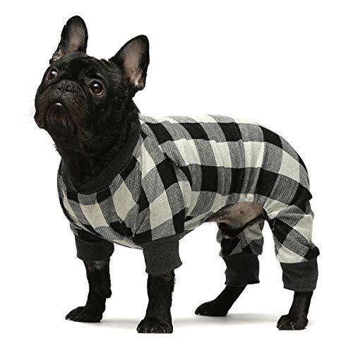 Fitwarm 100% Cotton Buffalo Plaid Dog Clothes Puppy Pajamas Pet Apparel Cat Onesies Jammies Doggie Jumpsuits Grey XL