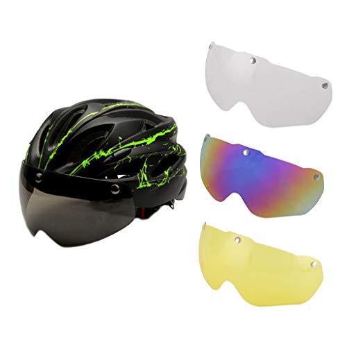 perfeclan Casco de Ciclismo con Gafas Magnéticas Extraíbles Desplazamientos Casco Y Lente de Bicicleta - Verde, Los 57-62CM