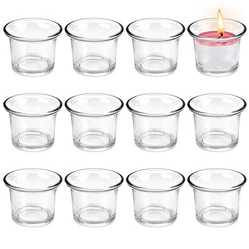 PERFETSELL 12 Pz Portacandele Vetro Barattoli Vetro Portacandele Votive in Vetro Bicchiere Candele Vetro 4,5 x 4,5 cm Porta Candele da Tavolo per Matrimoni, Cene e Meditazione