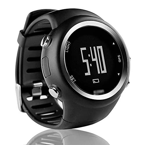 NJZY Reloj Deportivo al Aire Libre GPS Contador de Pasos Impermeable Distancia Ritmo T031 con Contador de calorías, recordatorio de Pasos, Alarma y cronómetro,Black