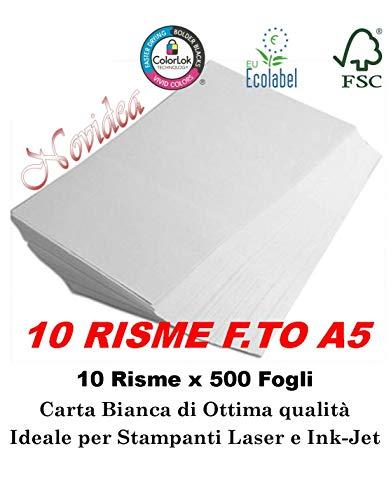10 Risme CARTA A5 80gr 500 Fogli Carta Bianca Fotocopie Stampante 14,8x21cm RicetteRICETTE - 5000 FOGLI