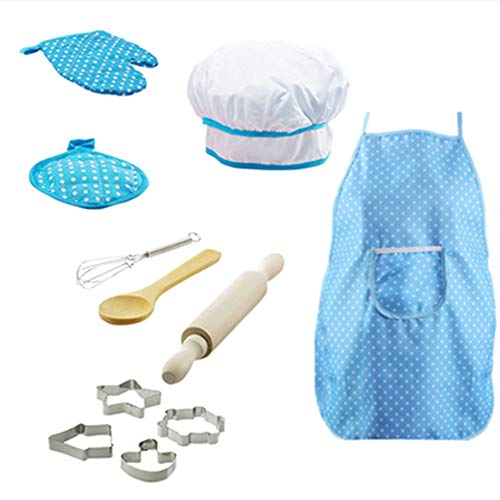 Ma.Lina.Ann Kids Cooking and Baking Set 11Pcs Kids Chef Role Play Ncludes Apron, Chef Hat, Cookie Cutter,Oven Mitt,Rolling Pin,Wooden Spoon,Hand Mixer Kitchen Set for Kids Ages 3 and Up (B-Blue) Missouri