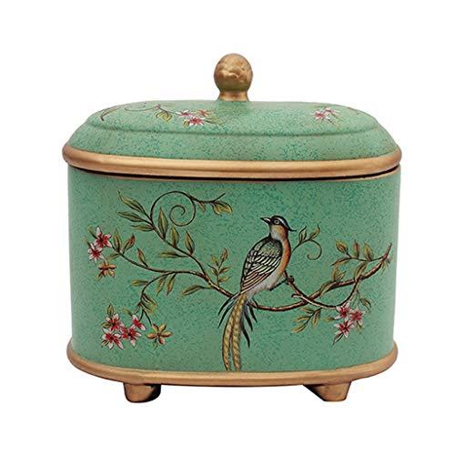 LANA Keramik Sundries Storage Jar Behälter mit Deckel, American Retro Wohnzimmer Frisierkommode Aufbewahrungsbehälter-Organizer, Küche Kanister, dekorative Ornamente, 22x14x21cm