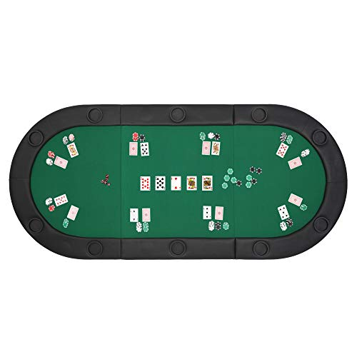PEXMOR 10 Player 79'x36' Portable Tri-Fold Poker Table Top Oval Padded Folding with Carrying Case (Green/Black)