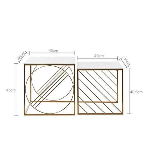 JPVGIA Tavolino da caffè - Semplice tavolino Quadrato da Salotto tavolino da Salotto in Ferro battuto Dorato (Size : 40 * 40 * 40.5cm+45 * 45 * 45cm)