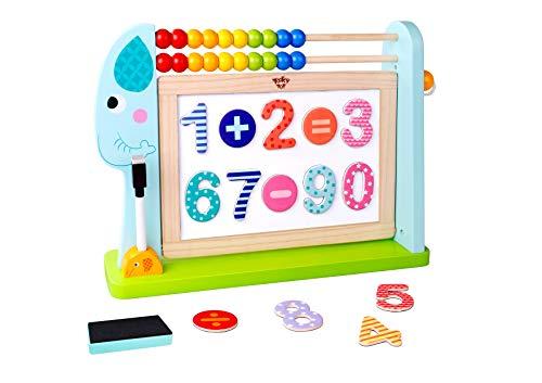 Tooky Toy Jeux en bois - Eléphant Tableau double faces boulier et accessoires en bois, Multicolore