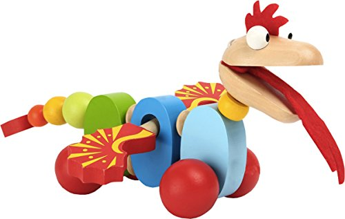 Best Prices! Childrens Indoor Garden Game Playing Wooden Pull Along Dragon Toy 27.5cm
