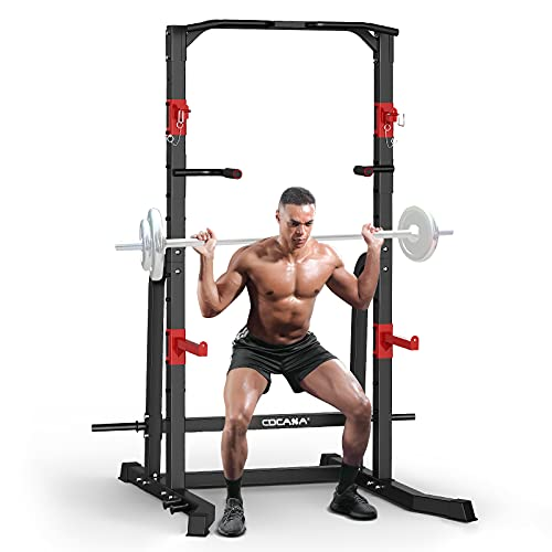 CDCASA Power Squat Rack Cage, Adjustable Power Cage, Multi-Function Power Tower with Pull Up Bar, Power Zone Rack Stand for Home Gym